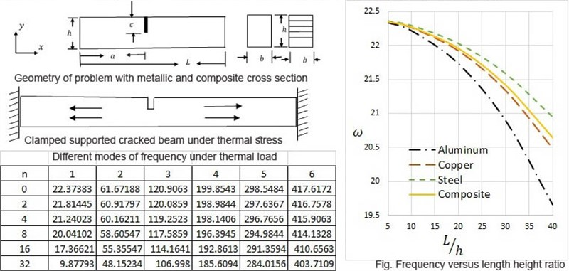 Effect of temperature on dynamic behavior of cracked metallic and composite beam