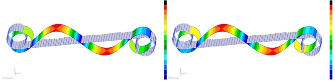 Mode shapes of the cell hexachiral structure