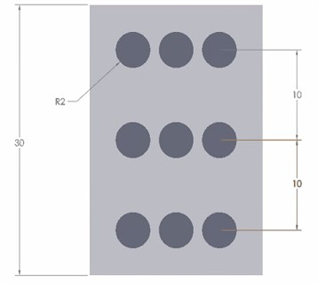 Dimensions of the MRE model used in the simulation study in µm