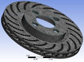 Finite element model of the ventilated brake disc