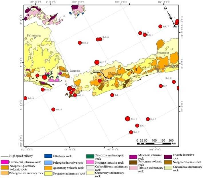Geological distribution of our research region