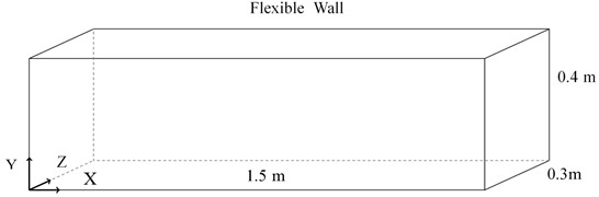 Schematic of rectangular duct with one wall flexible
