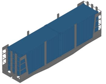 Improved load-bearing structure of the wagons a) in an empty state, b) in a loaded state