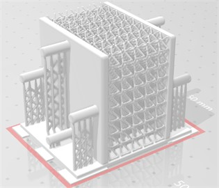 Novel lattice design for SLA printing: a) full sample with support, b) single cell