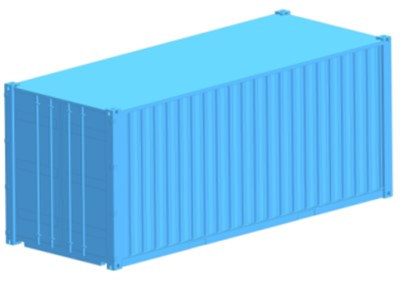 The spatial models of a flat wagon and a container a) flat wagon; b) 1CC container