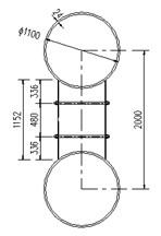 Configurations of CFST arch rib (unit: mm)