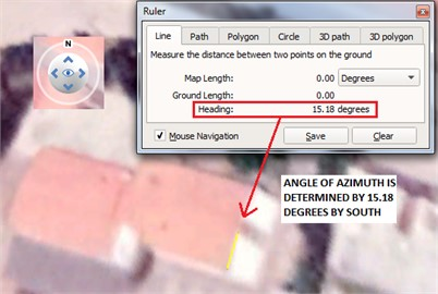Azimuth and Tilt angles used in PV panel routing