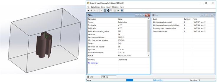 Simulation parameters of Solidworks flow simulation