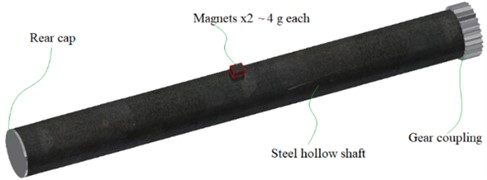 3D model of the hollow rotor with unbalance magnets