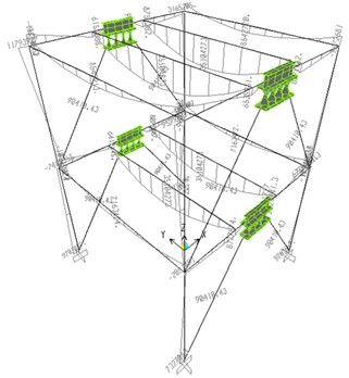 Combination 2 (1.2(DL + 0.5LL) + 1.3Ek) bending moment diagram of the steel structure  with LYP dampers (Newton-mm)