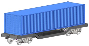 The flat wagon for transportation of military equipment  and heavy containers a) in empty state, b) in loaded state