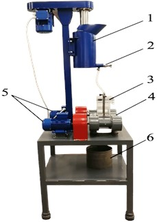 General view of the experimental stand: 1 – conditioning tank, 2 – shut-off fitting, 3 – interchangeable chamber, 4 – vibrating platform, 5 – vibration drives, 6 – material collecting tank
