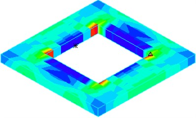 Tensile stress distribution of horizontal baffle under El Centro wave
