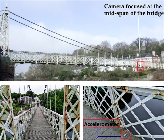 Daly's bridge: general view (from west and looking across north) and  position of a wireless accelerometer for the trials
