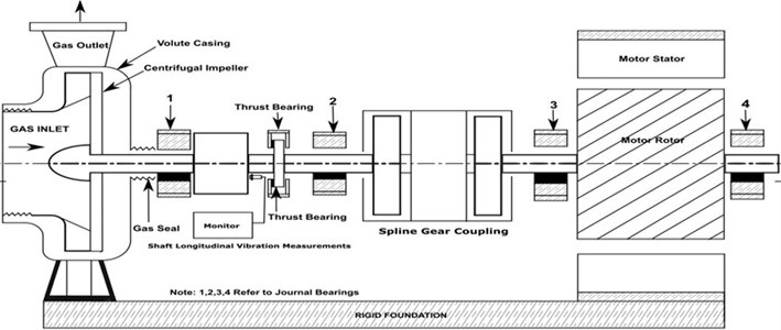 Schematic diagram showing vibration monitoring locations