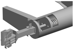 The draft gear concept of an automatic coupler a) the concept's components b) location  on the wagon frame 1 – automatic couplers frame, 2 – wedge, 3 – adapter,  4 – circular-pipe centre sill, 5 – bottom, 6 – spring, 7 – telescopic element