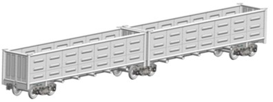 The spatial computer models of freight wagons:  a) flat wagon, b) open wagon, c) boxcar, d) hopper wagon