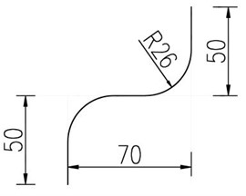 Two-dimensional diagram of S-shaped elbow