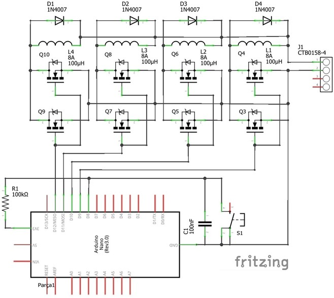 Four-coil gun circuit schema [Original]