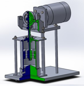 Spatial 3-D model of a  piston-type vibrating machine