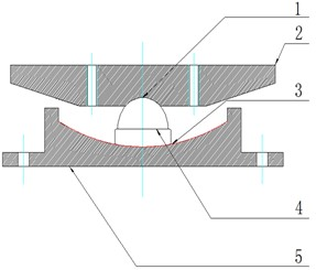 Sectional view  of friction pendulum structure