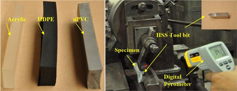 Photograph of the machining setup for shaping the surface