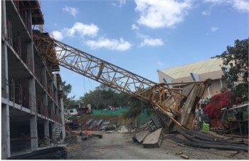 Photographic register of tower crane collapses located in Portugal (left: Vila Real and right: Porto)