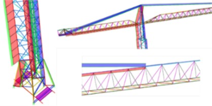 Axial forces in different structural members (red and green – compression and blue – tension)