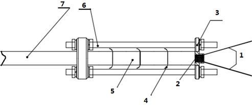 A schematic diagram of the experiment layout: 1 – pin wire, 2 – ignition head,  3 – fixed pressing plate, 4 – thermocouple, 5 – sample, 6 – bracket, 7 – strut
