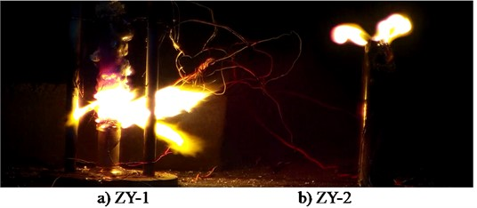 Typical flame structure of two energetic materials
