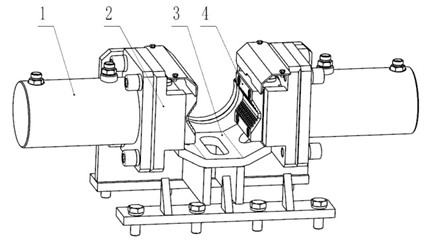 Conventional holder (hiding the side plate on one side of the holder body),  1 – clamping cylinder; 2 – slip bowl; 3 – gripper body; 4 – slip