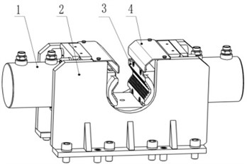 Gripper solution one: 1 – clamping cylinder; 2 – gripper body; 3 – slip;  4 – dust shield; 5 – gear; 6 – intermediate shaft; 7 – long locating ring;  8 – self-oiling bearing; 9 – short locating ring; 10 – rack; 11 – slip bowl