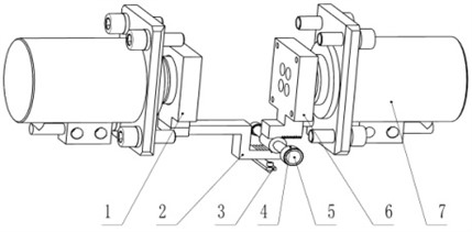 Gripper solution two (hide gripper body): 1 – left slip bowl; 2 – rack; 3 – wear plate;  4 – self-oiling bearing; 5 – gear shaft; 6 – right slip bowl; 7 – clamping cylinder
