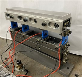 The picture of the assembled  vibratory feeder used in this study