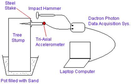 Experimental setup for obtaining vibration response of steel stake