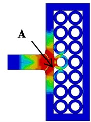 The deformation and von Mises stress distribution of projectile  and target during penetration of composite armor at different impact points