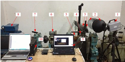Test bench of after stern bearing [2, 17, 18]:  1 – high-speed camera; 2 – LED white light;  3 – accelerometer; 4 – test block and shaft;  5 – weight; 6 – torque meter;  7 – infrared speedometer; 8 – motor; 9 – Photron 3, TEMA2.6; 10-B&K PULES