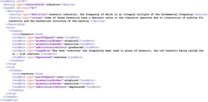 "Metadata displayed for the cacidate term ""harmonic"""