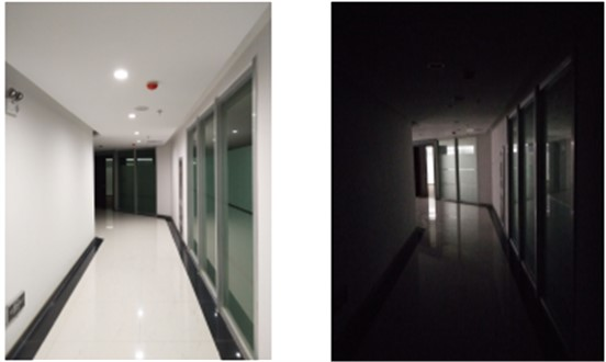 Two simulated environments in the corridor
