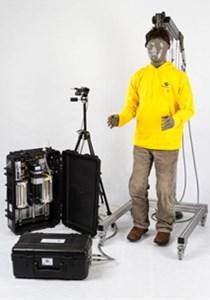 a) Thermal manikin newton, b) measurement of clothing parameters with thermal manikin Newton