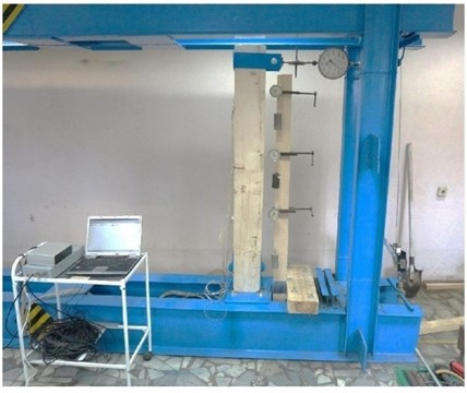 Laboratory setup: a) photo and b) a scheme of wooden rack. Legend: 1, 2, 3 in a circle – control points, indicator numbers; P – direction and point of force action