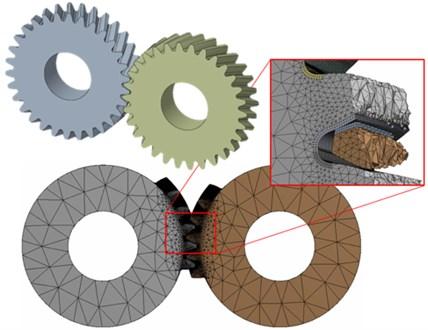 3D model and finite-element mesh