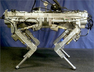 Physical images of a hydraulic four-legged robot a) in 2012, robot images with stereo cameras were not installed, b) in 2012, robot images with stereo cameras were installed