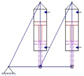 Layout diagrams of a parallel electro-hydraulic cylinder for the study