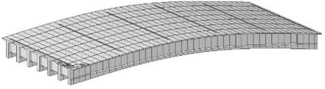 Finite element model of simply supported T beam bridge based on beam grid method