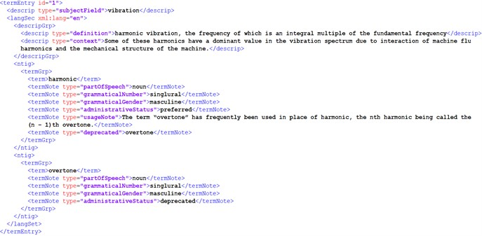 Metadata displayed in XML format for the candidate term harmonic