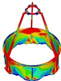 Topology optimization of IMSS: a) FEM, b) topology optimization results, c) topology model