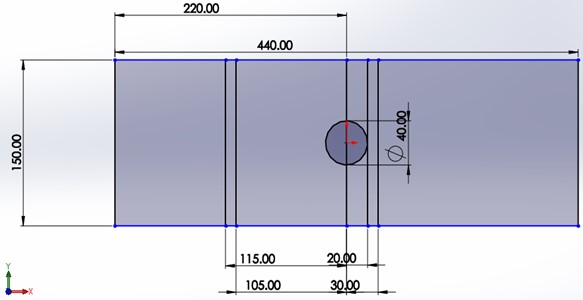 Test section setup, a) dimension of test section  and b), c) circular cylinder with semicircular grooved