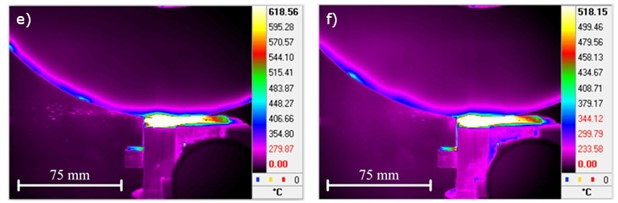 Registered images with thermal imaging camera FLIR SC5000 indicate maximum  temperature values for Mo63 brass, resulting in the grinding process.  The images a) to f) refer to the parameters given in Table 7