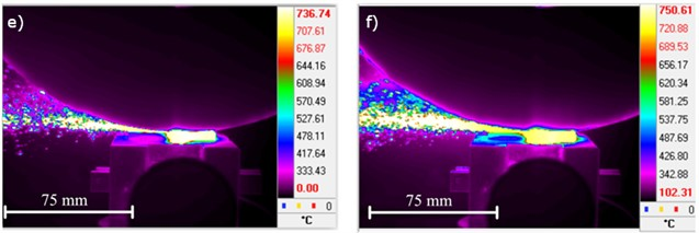 Registered images with thermal imaging camera FLIR SC5000 indicate maximum  temperature values for C45 steel, resulting in the grinding process.  The images a) to f) refer to the parameters given in Table 6